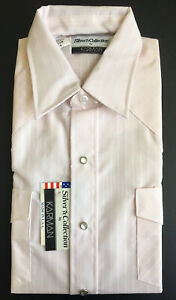 NWT Vintage Karman Western Shirt Silver Collection Pearl Snap Pink M 15.5 USA