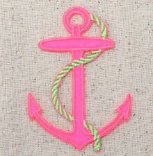 Iron-On Applique Embroidered Patch Large Neon Pink Anchor Lime Green Rope