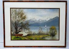 """BERNHARD - Peinture tableau """" Lac d'Annecy """" paysage montagne Signed Painting"""
