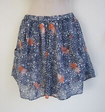 ZARA Stretch Waist Fully Lined Pleated Floral Blue Chiffon Mini Skirt ~ Size S