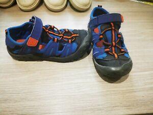 Boys f&f blue black orange sandals beach shoes size 10 summer