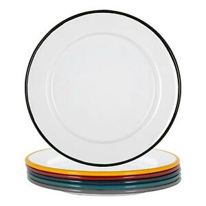 White Enamel Side Plates Steel Outdoor Camping Dinnerware 20cm 6 Colours