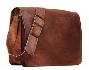 """Men's Genuine Vintage Leather 18"""" Messenger Laptop Briefcase Satchel Brown Bag"""