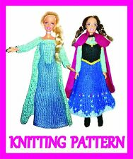 """2 KNITTING PATTERNS FOR BARBIE, DISNEY PRINCESS, 12"""" DOLL: ELSA AND ANNA: FROZEN"""