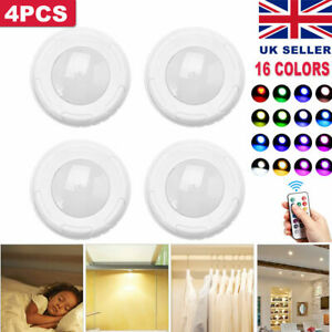 4* Under Cabinet Lights Dimmable RGB LED Kitchen Lamp Closet Cupboard Lighting