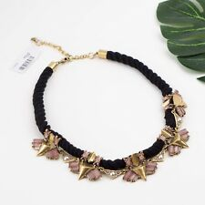 NWT J. Crew EMBELLISHED Rope Pink Crystal Statement Necklace Black