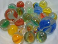 25 Vintage Classic Cats Eye Marbles Multicolor Shooters Pee-wee Gift Play Toys
