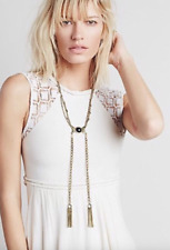 NWT Free People Necklace Chain With Dark Blue/Black Stone