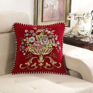 Retro Embroidery Pillow Case Throw Sofa Cover Cushion Home Decor Floral Vintage