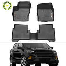 For 13 thru 18 Escape Ford Tray Style Molded Black Rubber Floor Mat Set 3-pc NEW