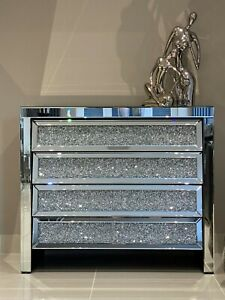 Mirrored Large Chest of Drawers Crushed Diamond Crystal Mirror Bedroom Furniture
