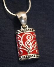Handsome Vintage MJ Red Enamel Swirl Pendant Necklace  +++++