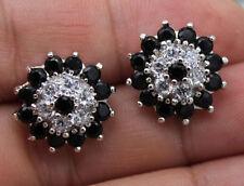 18K White Gold Filled - SunFlower Black Onyx Topaz Zircon Wedding Stud Earrings