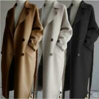 Womens Oversize Lapel Cashmere Wool Blend Belt Trench Coat Outwear Parka Jacket