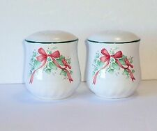 Corelle CALLAWAY HOLIDAY Christmas Salt & Pepper Set Ivy Cardinal Red Ribbon
