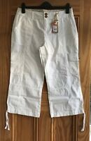 Debenhams Brand New White Cotton Cargo Crop Cropped Trousers Size 10-14 RRP=£30