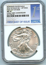 2016 W Burnished Silver Eagle Dollar Ngc Ms70 First Day Issue 30th Ann Coin C36