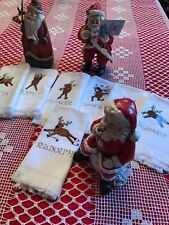 Santa Reindeer Hand/Tea Towels Nos #7 Heavy Embroidery/Gold names/Antlers