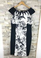 Karen Millen Ladies Size 14 Black White Floral Bodycon Dress Pencil