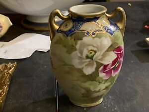 Hand Painted NIPPON  Vase With Handles Large Poppies Heavy Gold