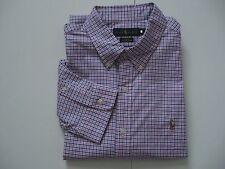 POLO RALPH LAUREN Men's Slim-Fit Pink/Royal Gingham Stretch Oxford Shirt XL