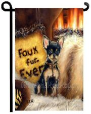 Miniature Pinscher Puppy painting Garden Flag Dog art Faux no Fur art Chihuahua