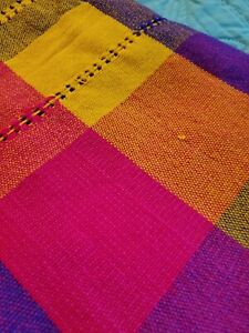 Bright Multi Color Plaid Woven  Blanket  92 in x 57 EUC