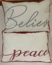 Peace Believe HolidayThrow Pillows ~ canvas . new  16 x 12 Christmas Gift