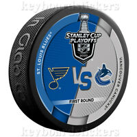 2020 Stanley Cup Playoffs Dueling Hockey Puck St. Louis Blues Vancouver Canucks