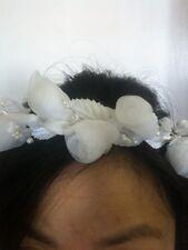New WHITE ORGANZA FLOWER HEADPIECE  FOR COMMUNION, FLOWER GIRL, WEDDING