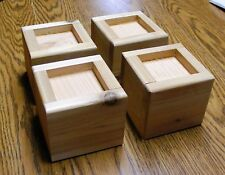 Solid Wood Bed Lifter Desk Riser Set of 4 For 3.25 x 3.25 Furniture Leg