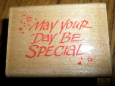 May Your Day Be Special 1990 Hero Arts Wooden Rubber Stamp