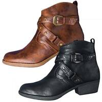 Women Ankle Boots Block Heels Booties Slouch Round Toe Leather Buckle Shoes Size