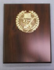 HOCKEY  trophy plaque 7 x 9 cherry finish round gold relief