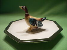 Mottahedeh Italian colorful Mallard DUCK at center of octagonal dish / plate.