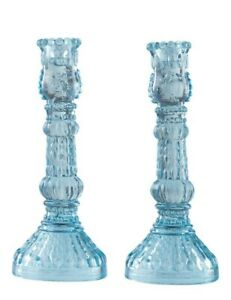 Victorian Trading NWD 2 Light Blue Glass Ribbed Glass Candle Holders 18C