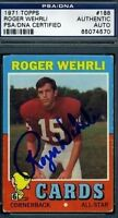 Roger Wehrli (r) Signed Psa/dna 1971 Topps Autograph Authentic