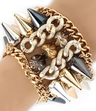 Bracelet Spiked Cone Cuff Gold Silver Black Spikes Women Jewelry