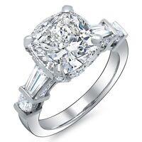 2.30 Ct. Cushion Cut, Baguette & Round Diamond Engagement Ring G,VS2 GIA 14K