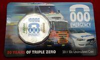 2011 Australia - 000 Emergency Services 50c Coloured UNC Coin on Card RARE