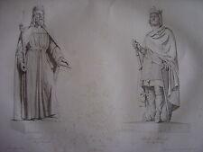 Grande gravure des Statues DAGOBERT Ier 1er Roi des Francs et de CHARLES MARTEL