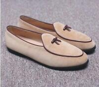 Mens Flats Bowtie Suede Leather Loafers Slip on Belgian Fashion Dress Shoes Size