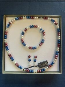 Red, White & Blue Honora Pearl Jewelry Set (Earrings, 18 in Necklace & Bracelet)