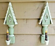 Mcm Vintage Home Interior Homco Green Birdhouse Candle-sconce Wall Decor Pair
