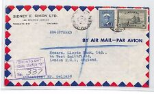 An332 1947 Canada Toronto*Postal Station B* Registered Airmail Cover London Bank