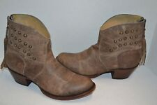 Shyanne Brown ANKLE LEATHER 7 B Western Studded WESTERN Fringe Boots BBW202