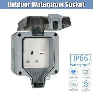 Waterproof Socket Outdoor Single Socket Wall Electrical PC IP66 Outlet UK Plug