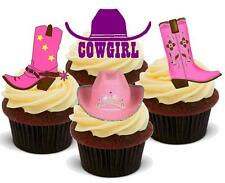 Cowgirl MIX 12 Stand Up Commestibili Cake Topper Premium Stand Up Stivali Selvaggio West