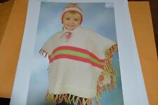 Plymouth Knitting Pattern P411 Child's Striped Poncho & Hat
