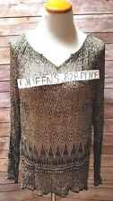 Lucky Brand Women's XL Stretch Peasant Sheer Floral Boho Long S. Blouse Top